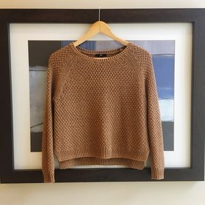 h&m camel tan open stitch summer crew crop sweater